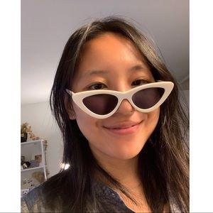 Le specs x Adam Selman white cat eye sunglasses